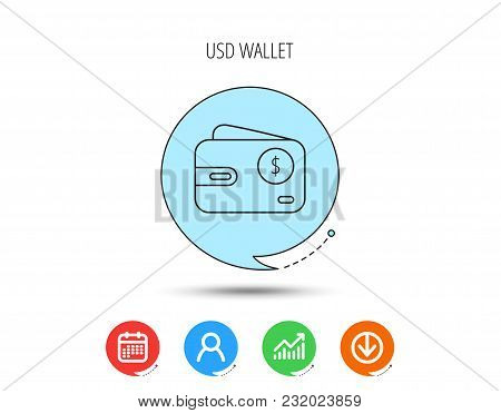 Dollar Wallet Icon. Usd Cash Money Bag Sign. Calendar, User And Business Chart, Download Arrow Icons