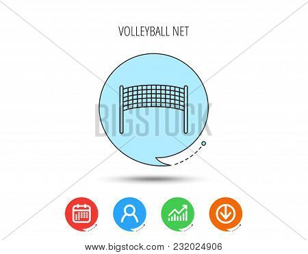 Volleyball Net Icon. Beach Sport Game Sign. Calendar, User And Business Chart, Download Arrow Icons.