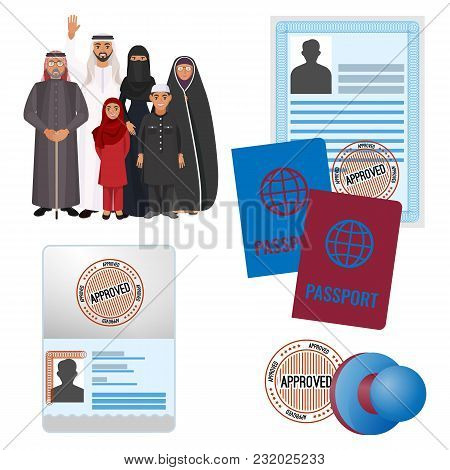 Arabic Emigrats With Approved By Stamp Documents And Passports. Arab Family In National Clothes And