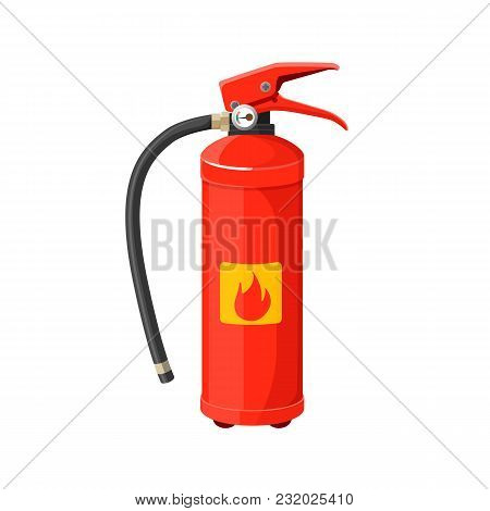 Fire Extinguisher With Long Black Hose Vector Illustration Isolated On White. Red Hand Grenade With