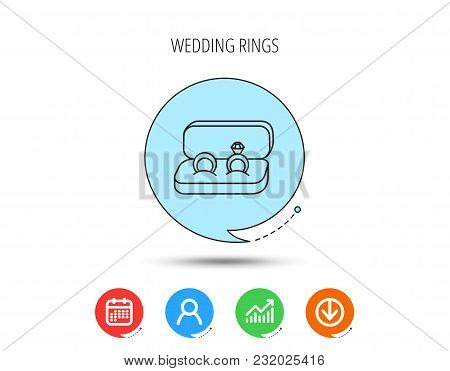 Wedding Rings Icon. Jewelry With Diamond Sign. Marriage Symbol. Calendar, User And Business Chart, D