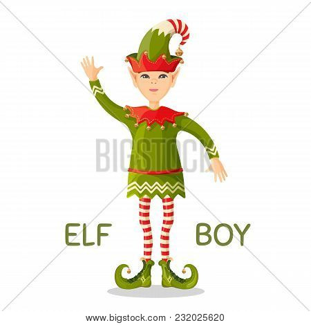 Elf Boy Human-shaped Supernatural Male Being In Green Suit, Cute Conus Shape Hat And Long Curved Boo