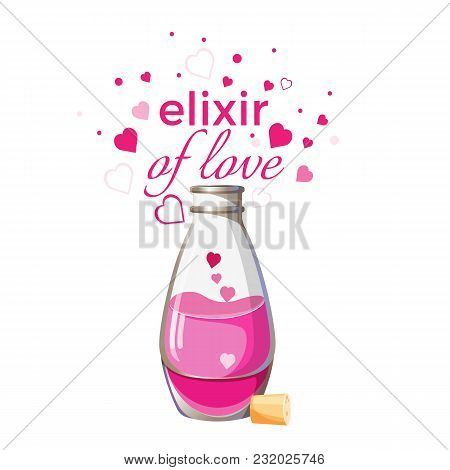 Elixir Of Love Bottle With Pink Liquid And Hearts Isolated On White. Magic Flask With Potion And Woo