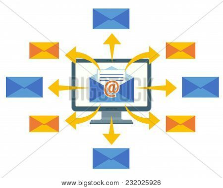Email Marketing Concept Vector Computer Screen And Mailing Letters. Sending Email Messages With Purp