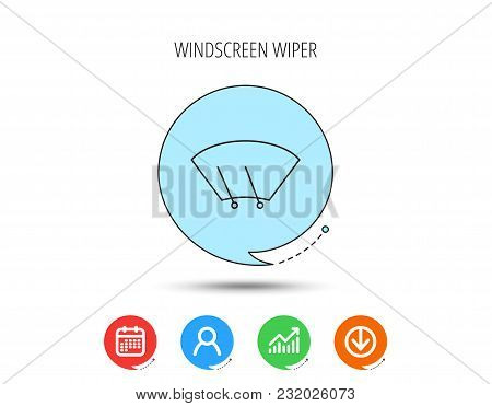 Windscreen Wipers Icon. Windshield Sign. Calendar, User And Business Chart, Download Arrow Icons. Sp