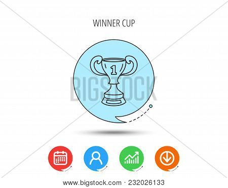 Winner Cup Icon. First Place Award Sign. Victory Achievement Symbol. Calendar, User And Business Cha