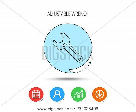 Wrench Key Icon. Adjustable Repair Tool Sign. Calendar, User And Business Chart, Download Arrow Icon