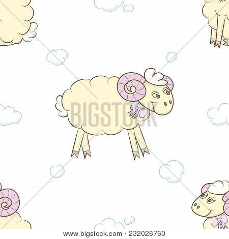 Seamless Pattern Background With Cute Sheep. Vector Illustration. Design For Baby Diapers.