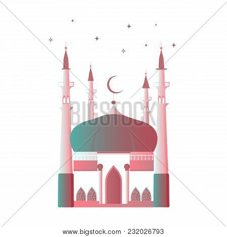 Ramadan Kareem. Muslim Mosque With A Crescent Moon And A Minaret.