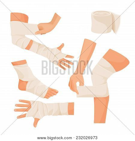 Elastic Bandage On Injured Human Body Parts Set. Special Tape Made Of Textile On Arms And Legs. Medi