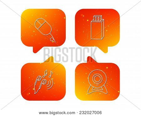 Web Camera, Usb Flash And Pc Mouse Icons. Headphones Linear Sign. Orange Speech Bubbles With Icons S