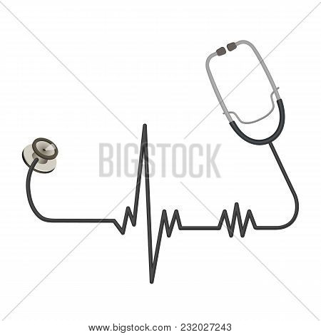 Medical Stethoscope With Long Wire In Shape Of Ekg Line. Doctors Instrument To Listen To Heartbeat A