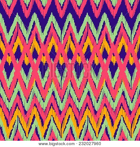 Abstract Ikat And Boho Style Handcraft Fabric Pattern. Traditional Ethnic Design For Clothing And Te