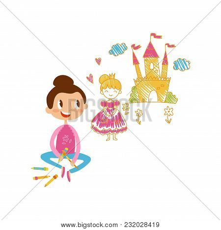 Lovely Little Girl Sitting On The Floor And Drawing Castle And Princess With Color Pencils On The Wa