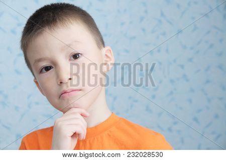 Idea Thinking Adorable Boy Portrait Closeup, Solving Problem Concept