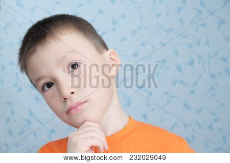 Idea Thinking Adorable Boy Portrait Closeup, Solving Task Child