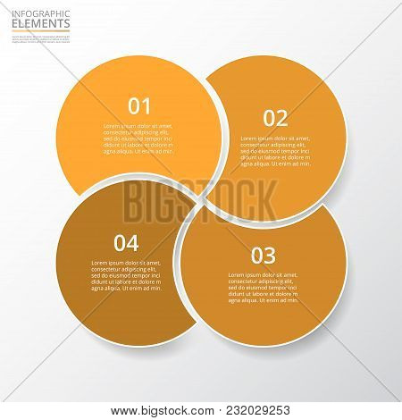 Step By Step Infographic. Orange Template With 4 Numbers Can Be Used For Workflow Layout, Diagram, C