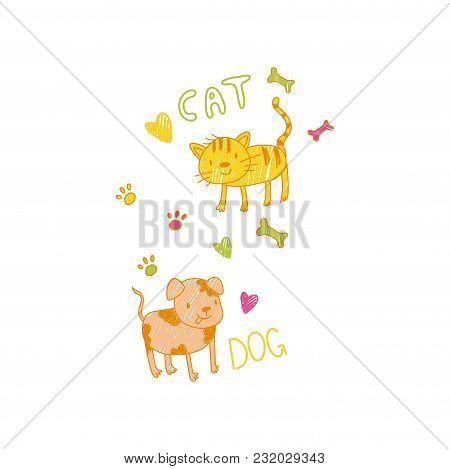 Childish Drawing Of Cat And Dog Vector Illustration Can Be Used For Poster, Greeting Card, Banner, L