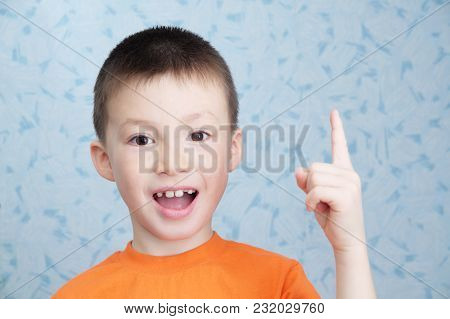 Idea Concept Adorable Boy Portrait Closeup, Solving Problem Concept