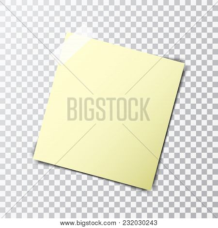 Yellow Paper Sheet On Sticky Tape With Transparent Shadow Isolated On A Transparent Background.