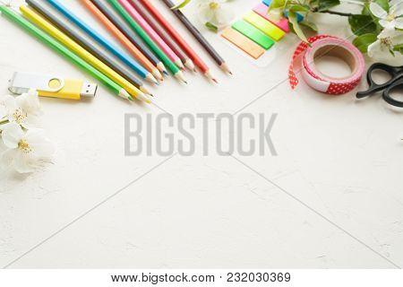 Good Bay, School Stationery And Blosom Apple Brunch On White Background