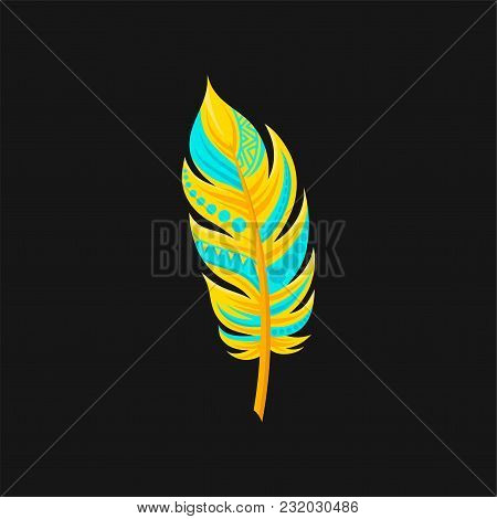 Beautiful Bright Bird Turquoise And Yellow Feather Vector Illustration Isolated On A Black Backgroun