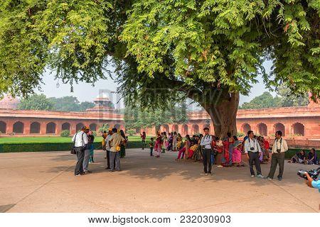 Agra, India - Circa November 2017: View Of Forecourt Of Taj Mahal In Agra, India. The Taj Mahal Was
