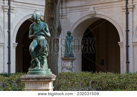 Lyon, France, March 19, 2018 : Gardens Of The Museum Of Fine Arts Of Lyon (in French, Musee Des Beau