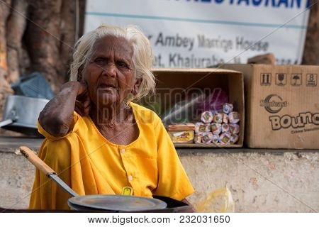 Jaipur, India - November 9, 2017: Portrait Of Unidentified Senior Indian Woman Outside. According To