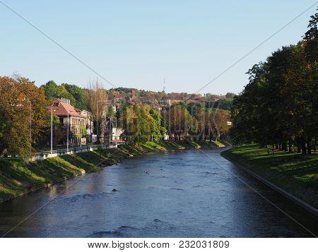 Olza River On The Border Of Polish City Of Cieszyn And Czech City Of Cesky Tesin Seen From Bridge Wi