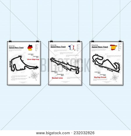 Flat Blue Background With Three White Speed Race Placards With Different Road Maps