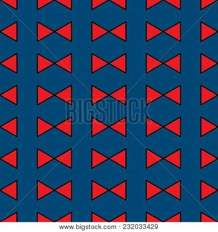 Red Ribbon On Indigo Blue Seamless Pattern Background. Vector Illustration.