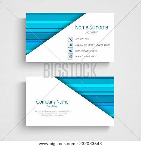 Business Card With Different Blue Strips Template Vector Eps 10
