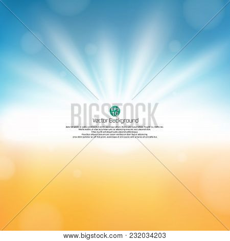 Fine Sunburst In Nature Beach Abstract Background With Copy Space, Illustration Vector Eps10