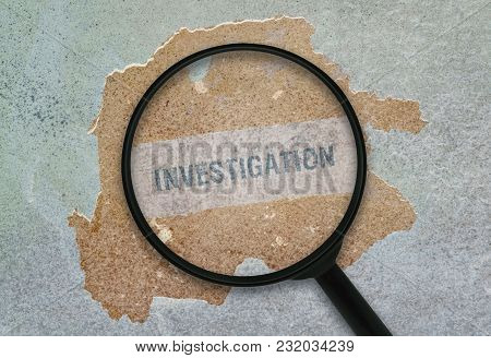 Word Investigation Written Under A Magnifying Glass On Grunge Background