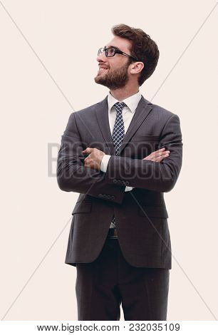 Portrait in full growth of a serious confident businessman