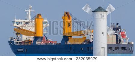 General Cargo Ship - Exit Of A Merchant Ship To The Sea