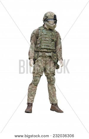 A Manikin Figure Of A Camouflaged Army Soldier.