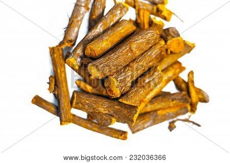 Close Up Of Ayurvedic Herb Liquorice Root,licorice Root, Mulethi Or Glycyrrhiza Glabra Root Isolated