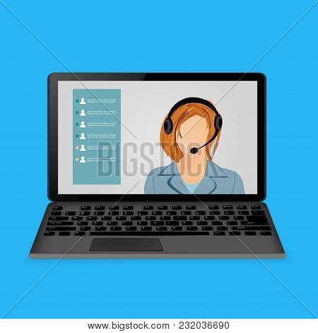Woman With Headphones On Laptop Screen. Vector Illustration