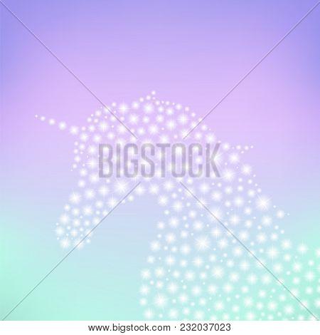 Unicorn Sparkle With Fantasy Background, Pony Glitter Sparking Fairy Tale Silhouette, Vector Illustr