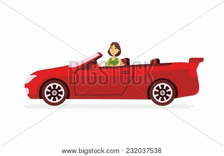 Young Woman Driving A Car - Cartoon People Character Isolated Illustration On White Background. An I