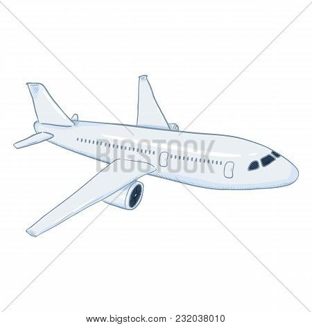 Vector Cartoon White Passenger Airplane. Commercial Aviation Aircraft.