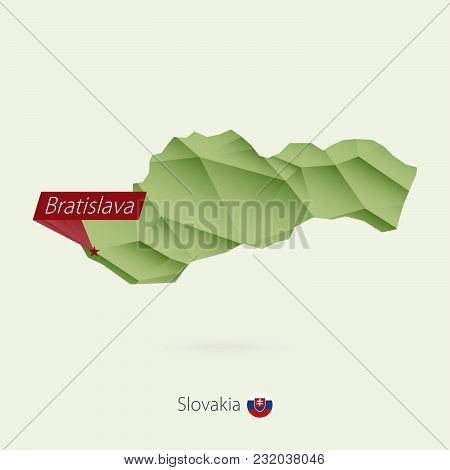 Green Gradient Low Poly Map Of Slovakia With Capital Bratislava.