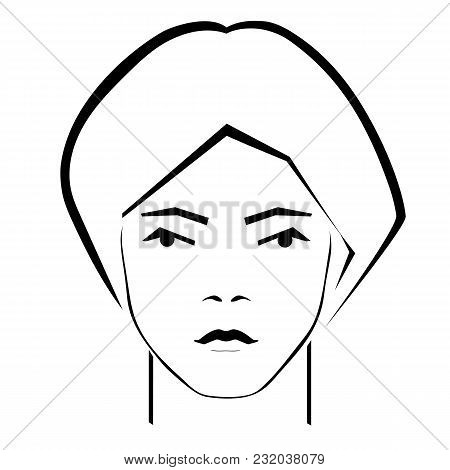 Fashion Portrait Of A Sketch Of A Girl Looking At The Viewer Executed In A Laconic Manner On A White