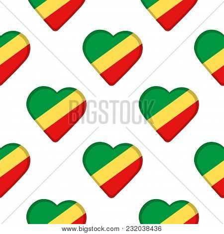 Seamless Pattern From The Hearts With Flag Of Republic Of The Congo . Vector Illustration
