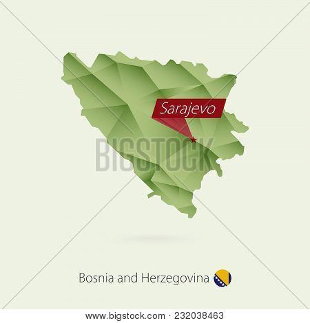 Green Gradient Low Poly Map Of Bosnia And Herzegovina With Capital Sarajevo