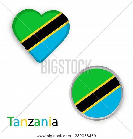 Heart And Circle Symbols With Flag Of United Republic Of Tanzania. Vector Illustration