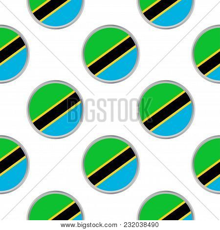 Seamless Pattern From The Circles With Flag Of United Republic Of Tanzania. Vector Illustration