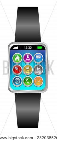 Black Smartwatch With Different Function Buttons - 3d Illustration